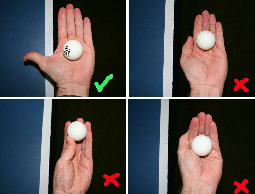 Photo showing correct and incorrect ways to hold the ball before serving in table tennis